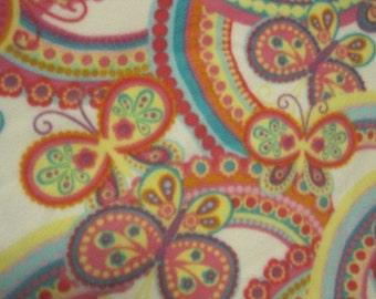 Butterflies with Aqua Fleece Blanket - Ready to Ship Now
