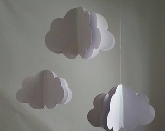Set of 3 Hanging Clouds White GLitter SParkle ANY COLORs available