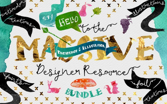 Digital Graphic Designer Resource Bundle - Fonts, Clip Art, Watercolor, Gold, silver, platinum Foil, Script Typeface