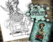 PRINTABLE Library Fairy Books Digi Stamp Coloring Page Fantasy Art Hannah Lynn