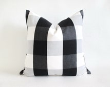 Pillow Cover Buffalo Check Black White Grey Zipper