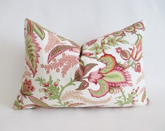 Lumbar Pillow Cover Jacobean Floral Pinks Fresh Greens Both Sides 12 x 18