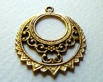 Vintage Brass Filigree Hoop Earring Components - 32mm - Qty 2 pcs, one pair (vb5)