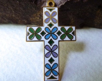 6 Small Enamel Cross Charms, Religious Charms, Christian Charms, Catholic Charms - Lavender & Blue on White / Gold Tone Accents