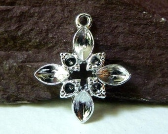 Religious Cross Charm Drop Dangle Blank with Rhinestone Settings - Strong Sturdy High Quality Vintage Casting - Qty 5 pcs
