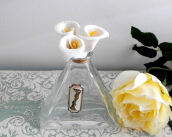 Vintage - Calla Lily Perfume Bottle, Cellini Collections by Studio Silversmiths, Triangle Shape Bottle with Porcelain Calla Lily Stopper