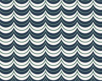Navy White and Green Scallop Stripe Cotton Fabric, Curiosities by Jeni Baker for Art Gallery Fabrics, Tidy Curlers, 1 Yard