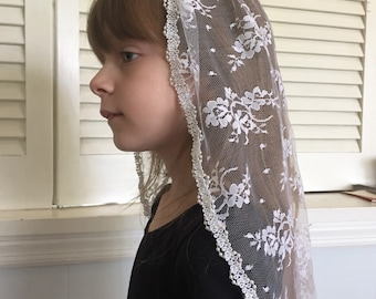 Chantilly Lace Veil with Beaded Cord Trim, First Communion Veil MBV002