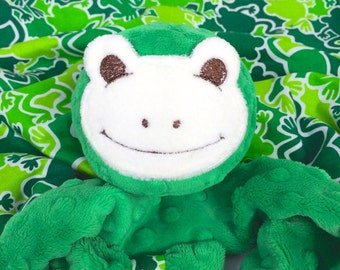 Medium Frog Security Blanket, Lovey Blanket, Baby Blanket, Sensory and Teething Toy, Baby Plush Toy, Kids and Babies, Stuffed Animal