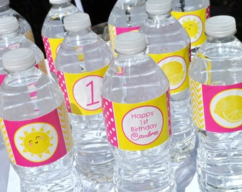 Lemonade and Sunshine Water Bottle Labels - Birthday Party Drink Labels - You Are My Sunshine - Pink Lemonade Party Decorations - Set of 10