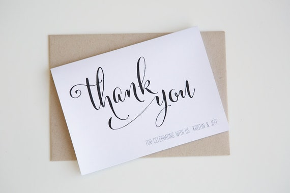 Personalised THANK YOU cards | Calligraphy, Modern, Minimalist, Monochrome, Wedding, Engagement