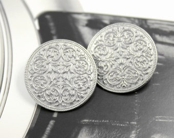 Metal Buttons - Mandala Metal Buttons , Silver Color , Shank , 0.91 inch , 10 pcs