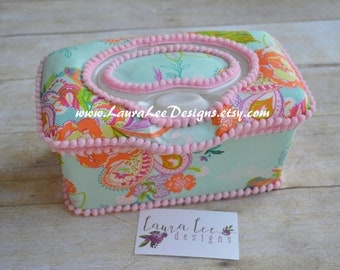 Whimsy Floral on Aqua Flip Top Nursery Baby Wipe Case, Pop Top Diaper Wipes Case, Baby Wipe Holder, Flower Large Wipes Tub, Baby Shower Gift
