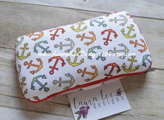 Nautical Anchor, Travel Baby Wipe Case, Diaper Wipes Case, Personalized Case, Diaper Wipe Case, Baby Shower Gift, Wipe Holder, Wipe Clutch