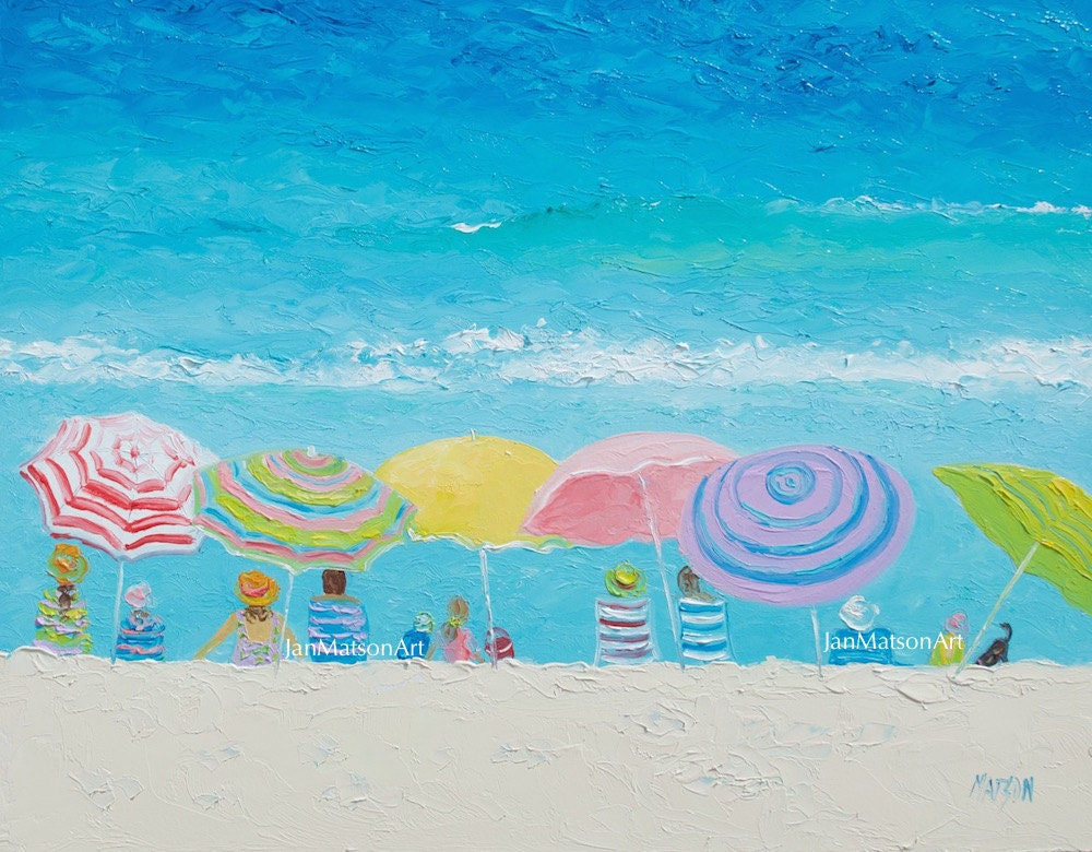 Beach painting FRAMED beach art beach umbrellas seascape