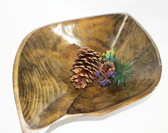 Wood Salad Bowl, Koa Wood?, in the shape of a leaf, vintage
