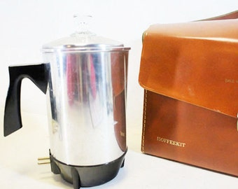 Travel Coffee Kit, Coffee Percolator for the Traveler in Leather Case, Vintage Electric Percolator