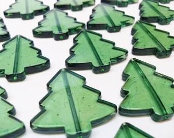 10x Bottle Green Christmas Tree Plastic Transparent Beads