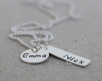 children's names necklace | two stamped name pendants | mom of two kids | 2 names | 2 kids names | mothers necklace | mommy necklace