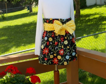OOAK For the Love of Flowers Paper Bag Skirt, Size 6