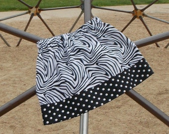 READY TO SHIP: Zebra Print with Black and White Dots Skirt, Size 6