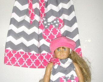 "Dress matching doll dress Minnie Mouse dress Gray chevron PINK pillowcase  dress size 12 months  2t, 3t,4t, 5t, 6,7 8, 10,12 to fit 18"" Doll"