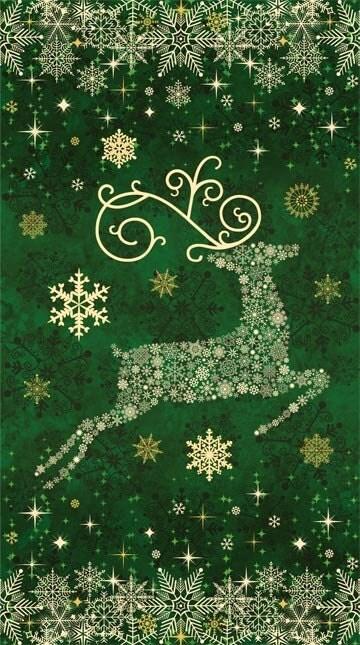 Prancer Green Reindeer Stonehenge Christmas Starry Night