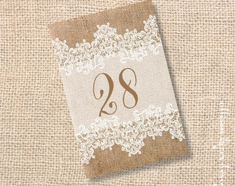 Burlap and Lace Printable Table Cards - Rustic Wedding Western Wedding Shabby Chic Wedding Reception Rehearsal Dinner - INSTANT DOWNLOAD