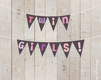 Twin Girls Baby Shower Printable Banner - Pink and Purple Twin Girls Funky Letters Banner Hot Pink Lavender Twins - INSTANT DOWNLOAD
