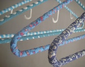 Vintage cotton,kimono fabric covered adult hangers, set of 4(blue)