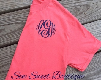 Fall SALE Embroidered Monogram Tee Shirt