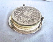 Vintage Silver Plate Re Purposed Coaster Tray / Note Pads Display Holder / Fiber and Vintage Note Paper Circles