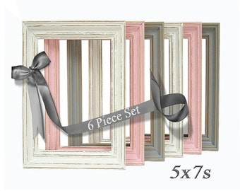 Shabby Chic Frames Pink Gray Grey White 6pc Frame Set 5x7 Nursery Art Wedding Home Decor Wall Art