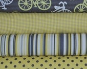 Citron and Gray Bicycles 4 Fat Quarters Bundle for Michael Miller, 1 yard total
