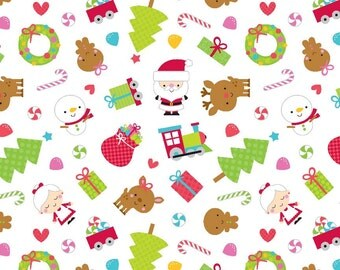 Santa Express Main White by Doodlebug Designs for Riley Blake, 1/2 yard