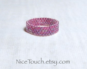 SUMMER SALE!!! Free Shipping or Save 20% ~ Iridescent Rose Pink woven stackable beaded peyote ring ~ Made to Order