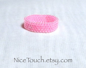 SUMMER SALE!!! Free Shipping or Save 20% ~ Bubble Gum pink woven peyote glass beaded ring ~ Made to Order