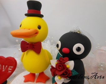 Custom Wedding Cake Topper--Love Yellow Duck & Penguin  with circle clear base