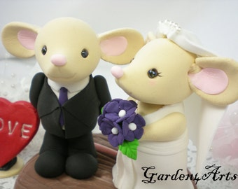 Custom wedding Cake Topper-- Love mouse couple with clay log base--New