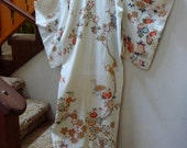 RESERVED FOR CHELSIE) Art deco kimono with blossoming tree on ivory silk crepe