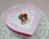 Victorian Heart Shape Decoupage Trinket Box - Jewelry Box - Keepsake Box