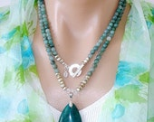 WOW-Y 65% OFF: Ashira Seafoam Green Blue Celestite Gemstone Necklace and Hand Selected Blue Coral Fossil Teal Pendant and Sterling Silver To