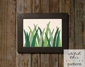 grasses cross stitch pattern - diy - modern, contemporary - pdf - instant download