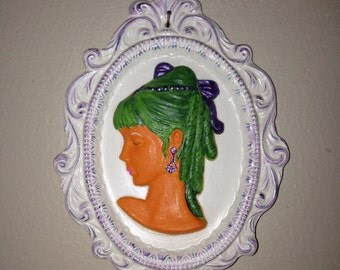Upcycled Ceramic Wall Plaque - Oompa Loompa Victorian Young Lady