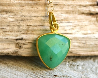 Chrysoprase Necklace, Chrysoprase with Gold