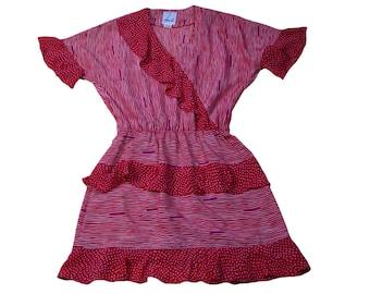 70s - 80s flutter sleeved ruffle skater dress // sz m
