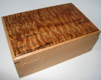 "Wooden Keepsake Box. Quilted Maple and Oak Keepsake Box. 8.75"" x 5.75"" x 3.5""."