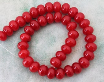 Beautiful Red Jade Smooth Rondelle Beads 14x10mm, 16 Inch Strand
