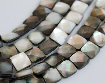 Full Strand Flashy Natural Black Lip Shell Faceted Square Beads Double Sided 12x12mm