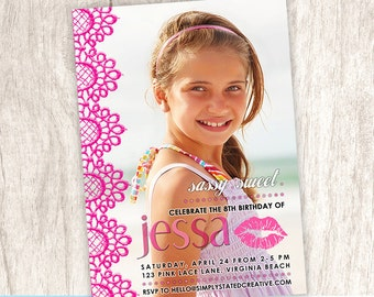 Pink Lace Girls Birthday Party Photo Invitation, Girl Glamour Party Invite, Lipstick Smooch Kiss Invite - DiY Printable || Sassy Sweet Pink